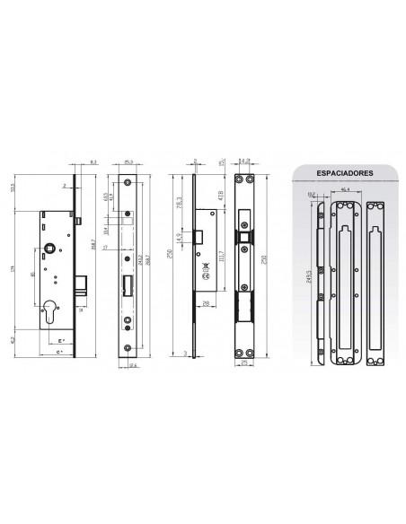Cerradura electromecánica - Distancia 30 mm.