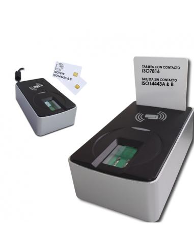 FS26EU - Lector de huellas dactilares FIPS201 PIV con lector de tarjetas ISO7816 con contacto e ISO14443A/B sin contacto.