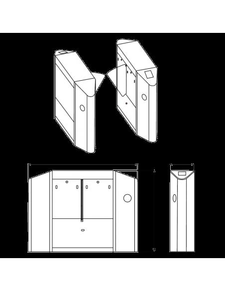 Pasillo motorizado de una aleta para un solo canal de acceso - Dimensiones