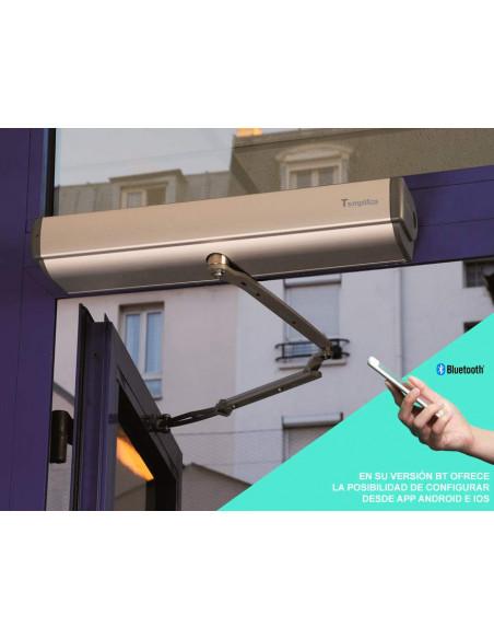 Abrepuertas motorizado con brazo universal configuración bluetooth