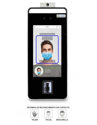 Terminal de reconocimiento Facial, palma ( y mascarilla) con detector de temperatura