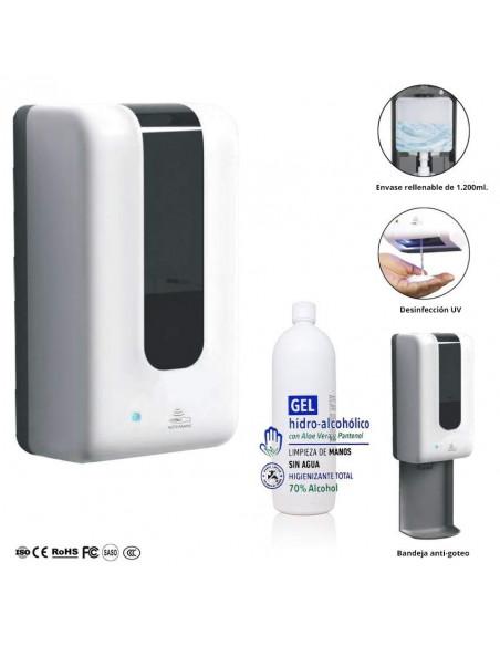 Dispensador automático para gel desinfectante hidroalcohólico + 1l de gel
