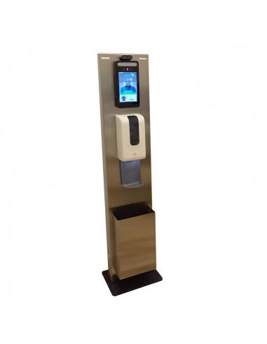 Totem para terminal facial y temperatura Proxyface XF, dispensador de gel y papelera.
