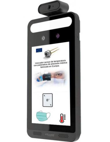 Avanzado terminal de reconocimiento facial con detector de temperatura de precisión y mascarilla.