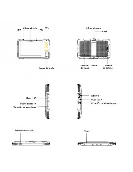 Componentes tablet biométrico de mano y pared 4G, WIFI, NFC, FAP20, GPS, Cámara, Android, DUAL SIM