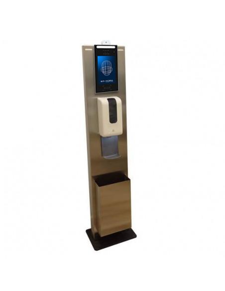Totem para terminal facial y temperatura Proxyface TWO, dispensador de gel y papelera.