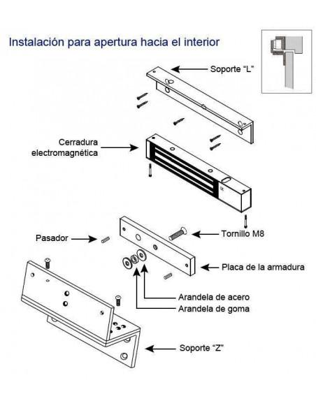 Adaptador en L para cerraduras electromagnéticas de 300 Kg