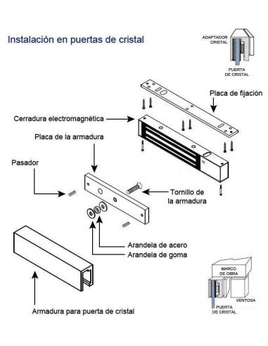 Soporte U para la instalación de cerraduras electromagnéticas en puertas de cristal