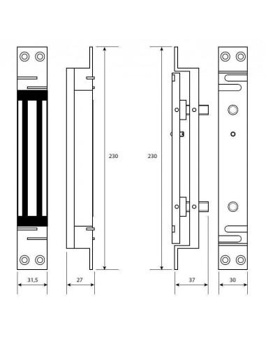 Cerradura electromagnética empotrable de cizalla 1500 Kg.