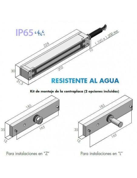 Cerradura electromagnética 300Kg. de exterior IP65