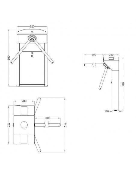 Torniquete Trípode semi-automático bidireccional