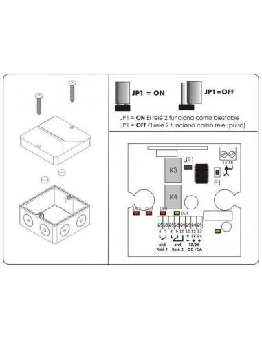 Mini-Receptor de 2 relés