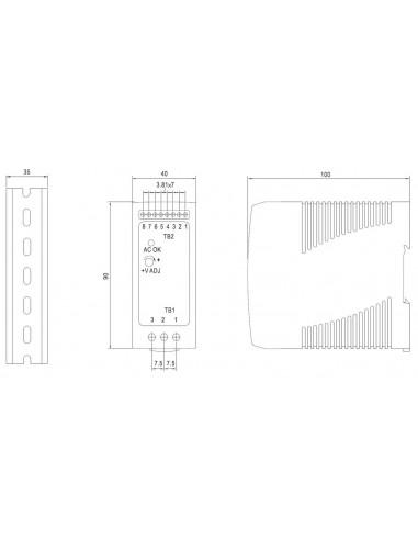 Fuente de alimentación Carril DIN con cargador de batería 12V 4,3A