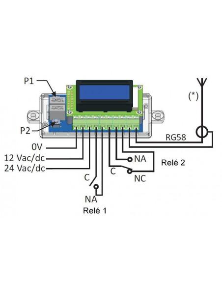 Receptor RF de 2 relés con display