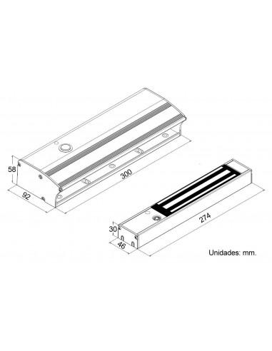 Tirador con cerradura electromagnética y pulsador incorporados - Dimensiones