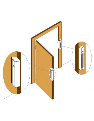 Tirador con cerradura electromagnética y pulsador incorporados